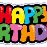 Happy birthday cartoon sign — Stock Vector