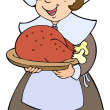 Royalty-Free Stock Imagen vectorial: Pilgrim woman with roast turkey