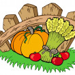 Thanksgiving motive with harvest — Stock Vector