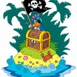 Treasure island with pirate parrot - Stock Vector
