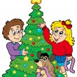 Two kids decorating Christmas tree - Stock Vector