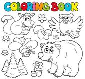 Coloring book with forest animals 1 — Stock Vector