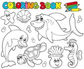 Coloring book with marine animals 2 — Stock Vector