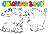 Coloring book with tropic animals 1 — Stock Vector
