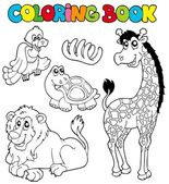 Coloring book with tropic animals 2 — Stock Vector