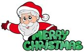 Merry Christmas sign with Santa — Stock Vector