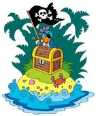 Treasure island with pirate parrot — Stock vektor