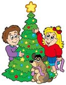Two kids decorating Christmas tree — Stock Vector