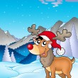Stock Photo: Christmas theme with cute reindeer