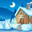 Stock Photo: Winter landscape with small cottage