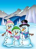 Winter theme with snowman family — Stock Photo