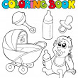 Coloring book baby collection — Stock Vector