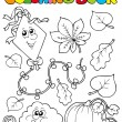 Coloring book with autumn theme 1 - Imagen vectorial