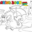 Coloring book with big dragon 3 — Stock Vector