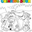 Royalty-Free Stock Vector Image: Coloring book with camping kids