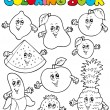 Coloring book with cartoon fruits 1 - ベクター素材ストック
