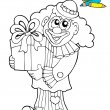 Coloring book with clown and gift — Stock Vector