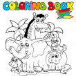 Coloring book with cute animals 1 - Vettoriali Stock