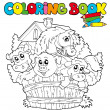Coloring book with cute animals 2 — Stock Vector