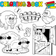 Coloring book with farm animals 2 — Stockvektor