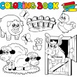 Coloring book with farm animals 2 — Imagen vectorial