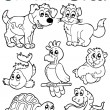 Coloring book with pets 2 — Stock Vector