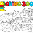Stock Vector: Coloring book with school and bus