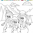 Royalty-Free Stock Vector Image: Coloring book with snowman family