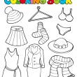 Coloring book with various clothes — Stock Vector