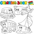 Coloring book with various vehicles — Imagen vectorial