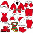 Various Santa Claus clothes - Stock Vector