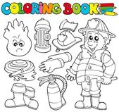 Coloring book firefighter collection — Stock Vector