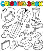 Coloring book with apparel 1 — Stock Vector