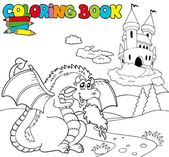 Coloring book with big dragon 1 — Stock Vector