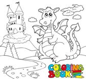 Coloring book with big dragon 2 — Stock Vector