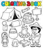 Coloring book with camping images — Stock Vector