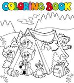 Coloring book with camping kids — Stock Vector