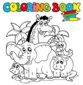 Coloring book with cute animals 1 — Cтоковый вектор