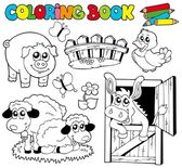Coloring book with farm animals 2 — Stock Vector