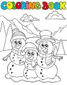 Coloring book with snowman family — Stock Vector