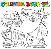 Libro de colorear con varios vehículos — Vector de stock