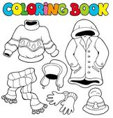 Coloring book with winter clothes — Stock Vector