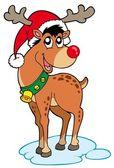 Reindeer in Christmas hat — Stock Vector