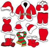 Various Santa Claus clothes — Stock Vector