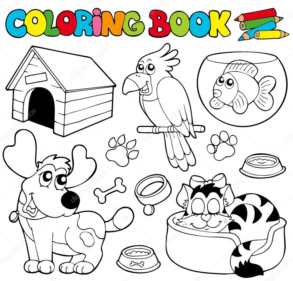 Coloring book with pets 1 - vector illustration. — Stock Vector #4137614