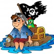 Cartoon pirate sailing on raft - Stock Vector