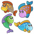 Four cartoon fishes — Stock Vector