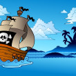 Stock Vector: Pirate ship with island silhouette