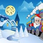 Santa on train near small village — Stock Vector
