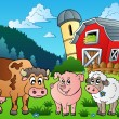 Stock Vector: Three farm animals near barn